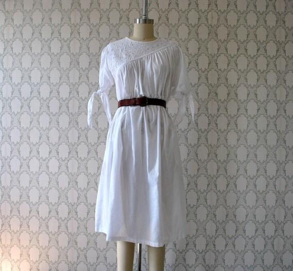 asymmetrical yoke white SHADOW STRIPE white tie sleeve dress