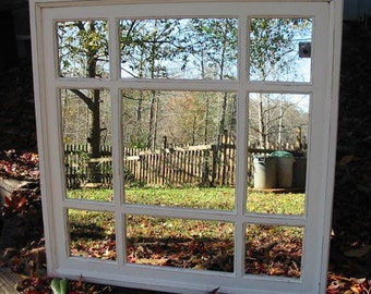 light cream distressed 32 x32  window mirror