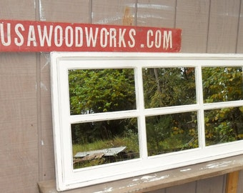Qty 2     48 x 20     window mirrors  off- white   distressed  cottage