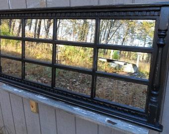 Mantel mirror    headboard  windowpane  mirror , black cottage distressed