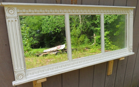 French Country  Cottage mirror - distressed mirror frame - window sash - shabby chic mirror - vanity - windowpane