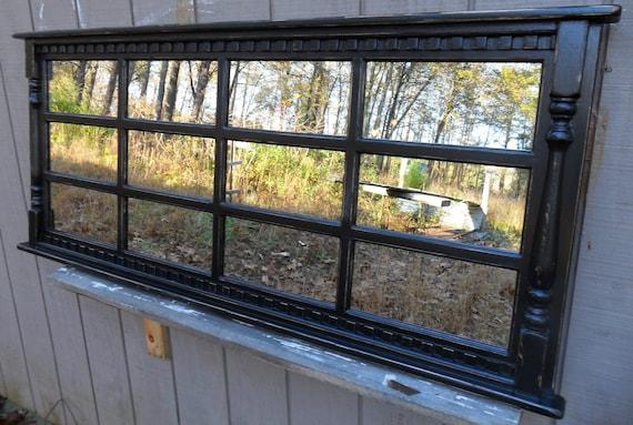 Mantel mirror    headboaerd   window  mirror , black cottage distressed