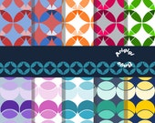 Digital Paper Pack/ Geometric/ Parts of the Circle/ Colorful/ PNG