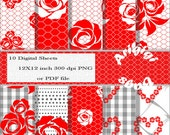 Hearts and Roses Valentine Printable Digital Collage Sheet / Paper Red