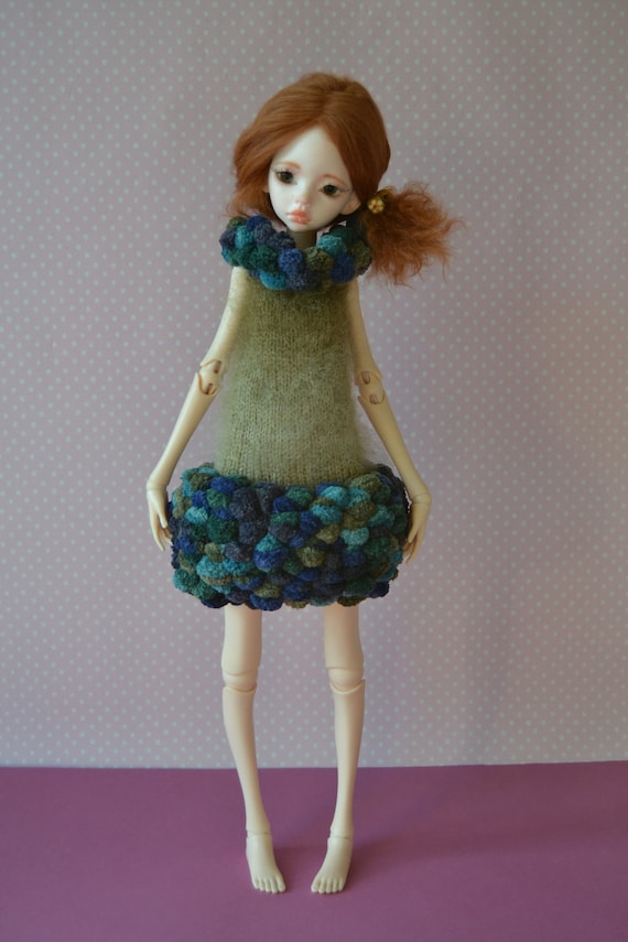 Hand knitted haute couture pompom dress for Doll chateau