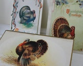 Vintage Thanksgiving Turkey 1910s Postcards Set of 3