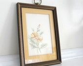 Vintage Watercolor Painting Vintage Yellow Flowers Original Watercolor