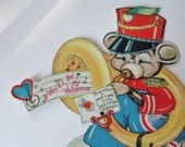 Valentine Card Vintage Valentines Day Card Funny Vintage Musical Mouse with Tuba Band Character Card