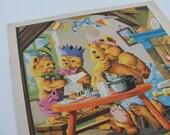 Vintage Illustration Page, Gli Orsetti Giocano, The Bears Play, J C Van Hunnik, Gina Fanti, Child's Room Decor, 1