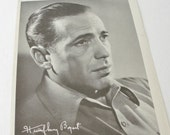 Vintage Movie Star, Humphrey Bogart Autographed Fan Magazine Insert, 1940s, Black and White Fan Photo