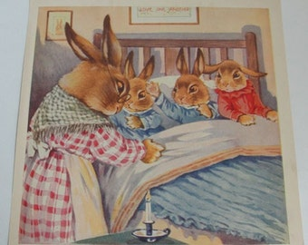 Vintage Children's Book Illustrations Bunny Rabbit Pictures Edna Groff Deihl, A E Kennedy, Roberta Paflin