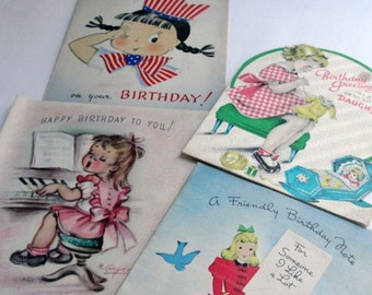 Vintage Cute Birthday Cards for Little Girls 1940s