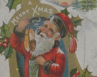 Santa Claus Papa's Delight Vintage Christmas Postcard Merry Xmas 1910s