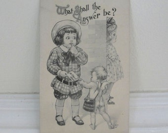 Vintage Cupid Vintage Valentine Postcard Vintage Romantice Black and White Sweet Cute Couple 1917