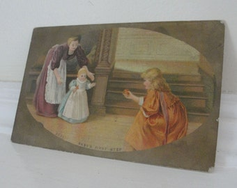 Women Child Vintage Postcard Baby's First Step
