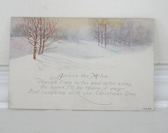 Christmas Holiday Away Vintage Missing You Winter Snow Scene Postcard 1910s