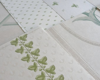 Vintage Wallpaper Sheets Collage Scrapbooking Cardmaking Supplies Assorted Cream Beige Green Neutral  Decorative Paper Pack