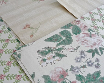 Vintage Wallpaper Sheets Collage Scrapbooking Cardmaking Supplies Assorted Romantic Pink and GreenDecorative Paper Pack