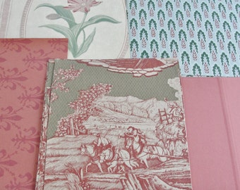 Vintage Wallpaper Sheets Collage Scrapbooking Cardmaking Supplies Assorted Colonial Red Green Blue Decorative Paper Pack