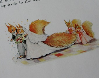 Vintage Children's Book Illustrations,Story of Lazy Bush Tail Squirrel, Constance Woodhead, Jean Wanklyn, Nursery Decor, For Baby, For Kids