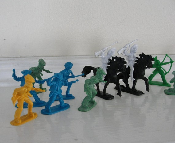 Vintage Toy Horses Cowboys Indians Vintage Plastic Blue Green Black Bamboo yellow white Cowboy Indian and Horse Set of 14
