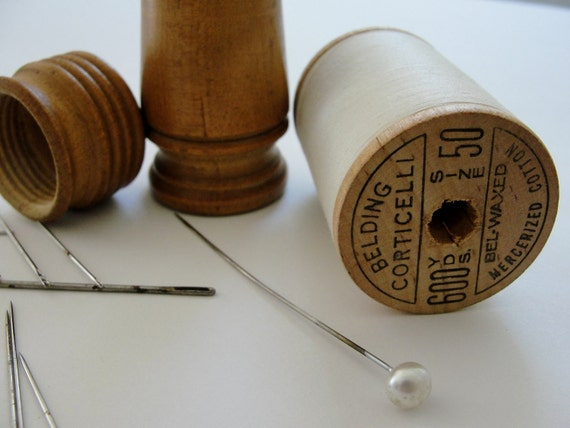 Vintage Wooden Needle Case, Wooden Spool of White Thread, Faux Pearl Hat Pin, Vintage Patina Needles
