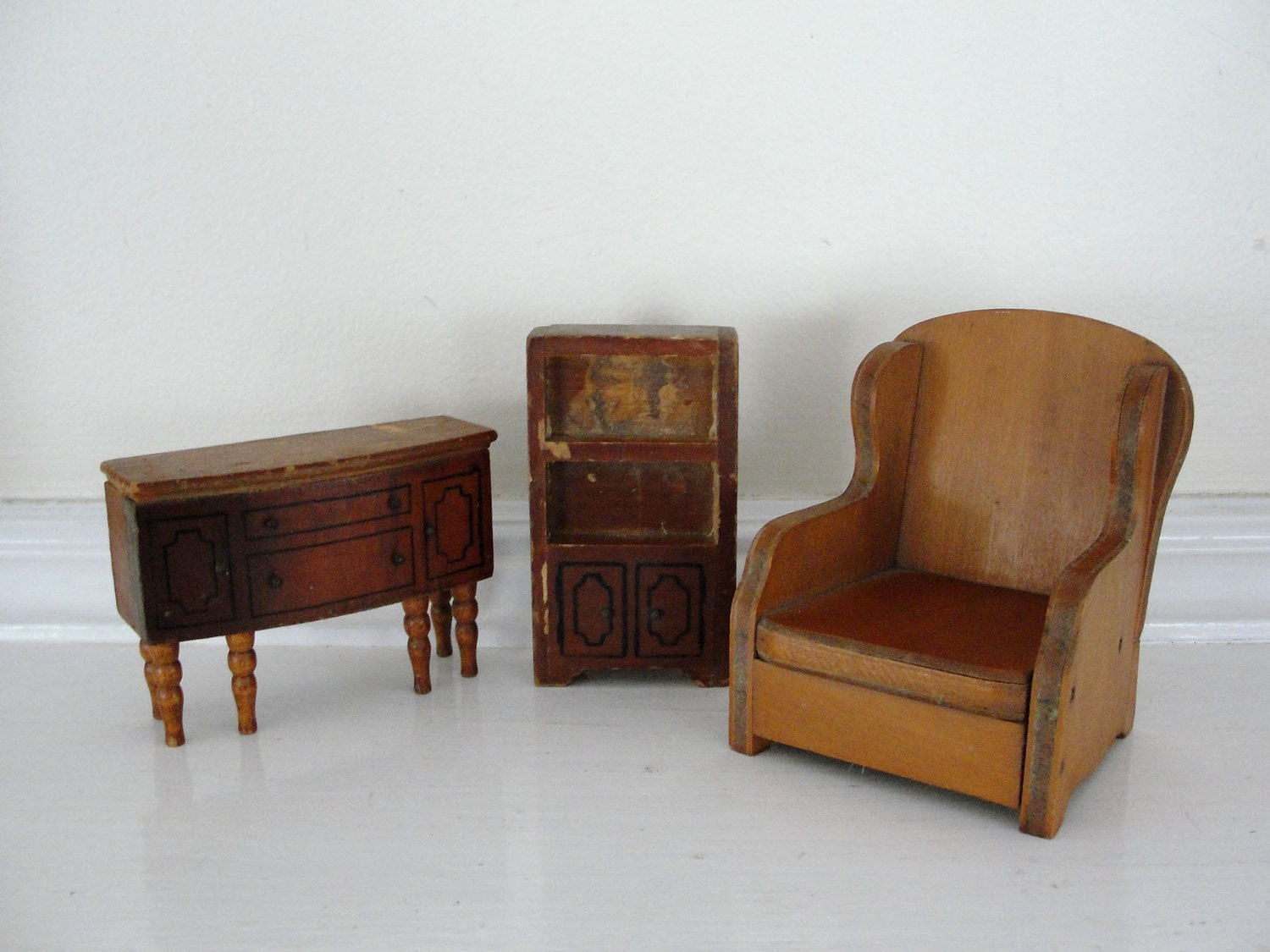 Vintage wooden doll house furniture vintage doll house chair Old wooden furniture