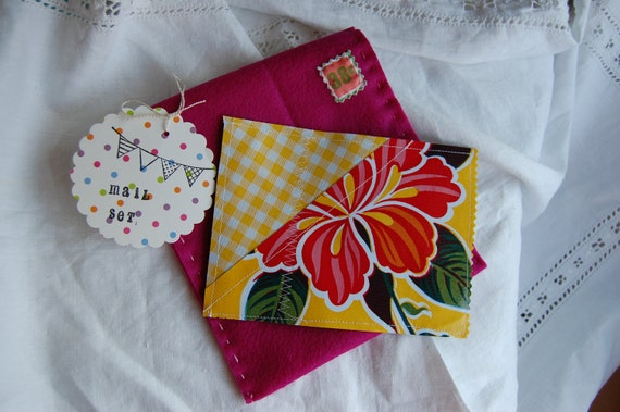 Chalkcloth postcard and Eco fi Felt envelope pretend mail set