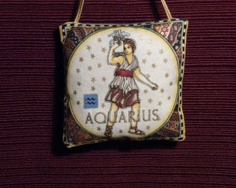 Zodiac Aquarius Dark Blue Fabric Astrology Astrological Pillow Hanger Ornament