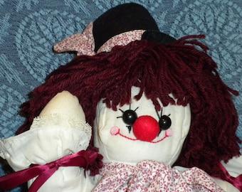 CLARA Clown Muslin Fabric Plush Folk Art Country Rag Doll - OOAK