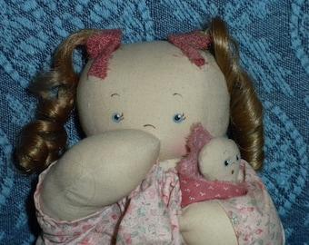 BABE w/ Baby Muslin Fabric Plush Folk Art Country Rag Doll - OOAK