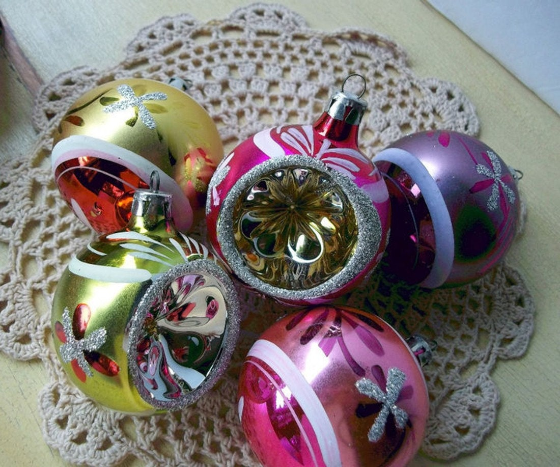 Vintage glass ornaments made in romania christmas by upstairsattic