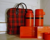 Pleased to Eat - Vintage Plaid Picnic Set with 2 Thermoses, Sandwich Box and Carrying Case with Handles