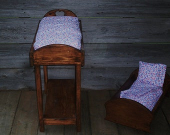 Handcrafted DOLL FURNITURE SET Bed & Changing Table With Matching Bedding Primitive Country Shipping Included