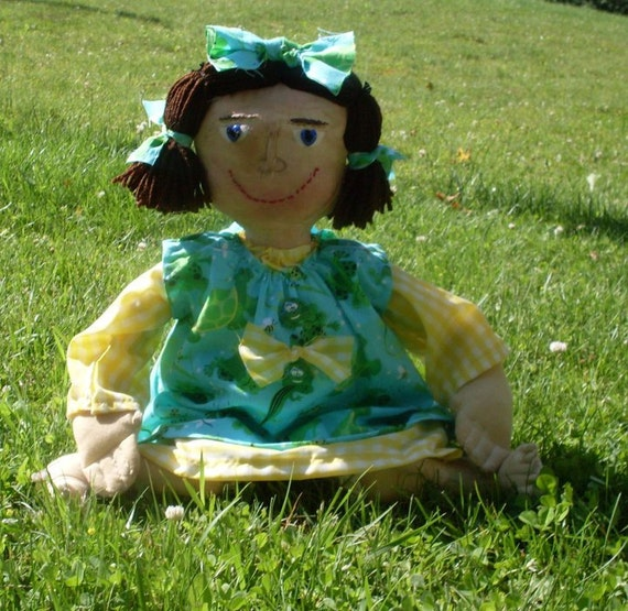 PRIMITIVE DOLL Folk Art Summer Leapfrog With Story Hang Tag Shipping Included