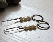 Pearl and Sterling Silver Hoops - READY TO SHIP