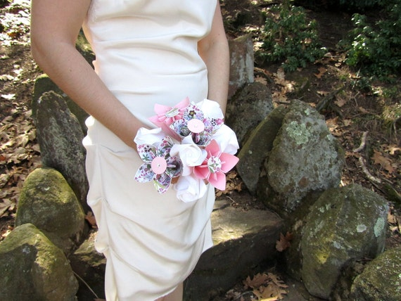 Reserved for Cintia Gahles Romantic Pink & White Origami Bouquet