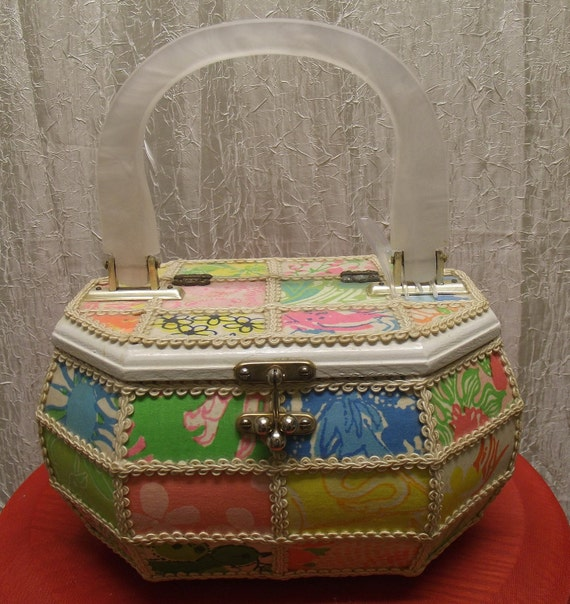 1970s Wood Box purse with Acrylic handle, fabric covered.