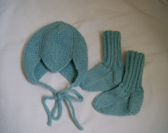 RESERVED FOR wbtierney, Turquoise Set With One Baby Helmet-Hat And One Pair of Socks, Alpaca, 0-3 months, READY TO SHIP