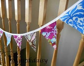 Shabby Fabric Wedding Garland / Banner/ Bunting / Birthday /Nursery / Window Valance / 9 Med Flags / Photo Prop / purple blue brown  -7 ft.