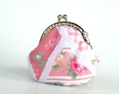 CLEARANCE SALE-Shabby chic pink roses,tiny coin purse