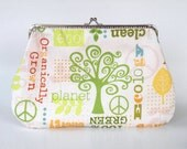 Organic cotton,eco friendly,save the earth,cream,green hand bag,clutch,kiss lock purse-Mother's day gift