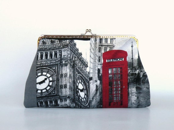 England, Big Ben, UK,telephone, London clutch,hand bag,beige