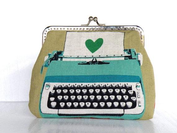 Vintage typewriter in mint green,beige purse