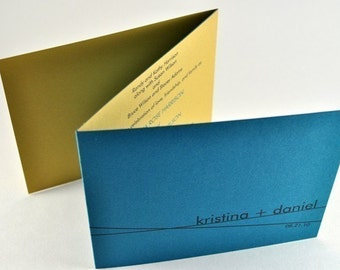 Simple Modern Wedding Tri-fold Wedding Invitation in Teal and Gold SAMPLE - Unique wedding invite with RSVP postcard