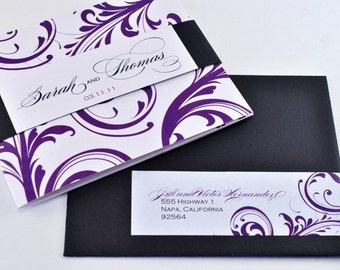 Classic Script Tri-fold Wedding Invitation in Purple and Black with Perforated RSVP Postcard, Sample - ISABELLA