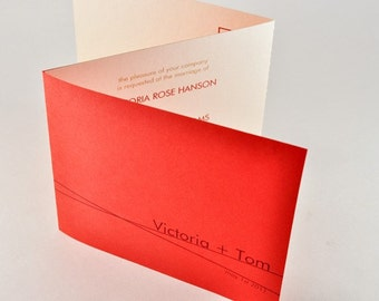 Red Modern Wedding Invitation Tri-fold Card with Perforated RSVP Postcard, Sample - VICTORIA