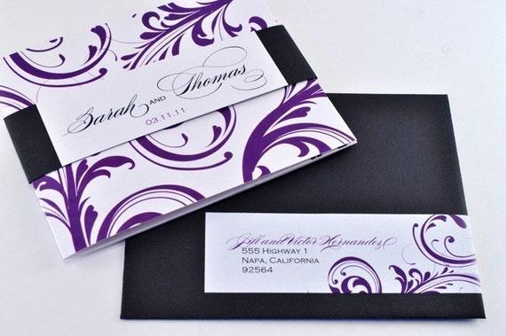 Elegant Wedding Invites Coupon: NEW Elegant Tri-fold Wedding Invitation With Perforated RSVP
