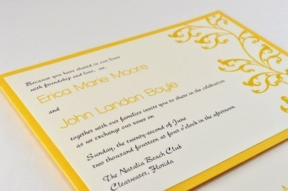 NEW Beautiful and Modern 5x7 Wedding Invitation with handy back pocket -LILITH - yellow, gray,ivory (SAMPLE)