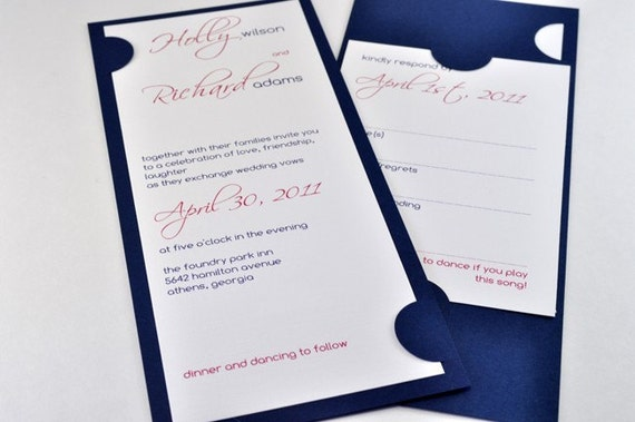 Contemporary Modern Blue and Pink Wedding Invitations, Sample - MAIA